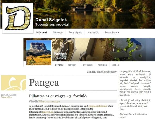 Montázs a Dunai Szigetek a Pangea blog és annak Facebook oldalának képernyőfelvételeiből