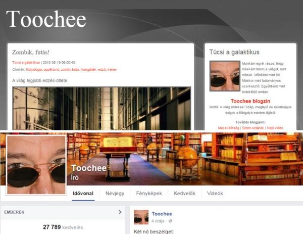A Toochee blognak és Facebook oldalának képernyőfelvétele