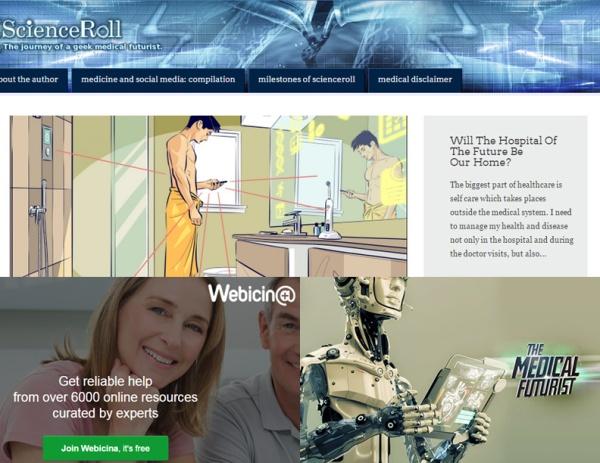 Montázs a ScienceRoll, Webicina és The Medical Futurist (Meskó Berci YouTube csatornája) oldalak képernyőfelvételeiből