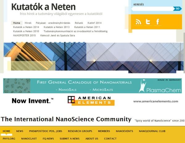 A Kutatók a Neten és a Nanopaprika oldalak képernyőfelvétele